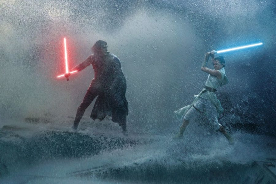 A+battle+scene+between+Kylo+Ren+and+Rey+from+%22Star+Wars%3A+The+Rise+of+Skywalker%22