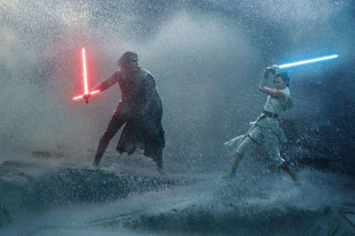 A battle scene between Kylo Ren and Rey from