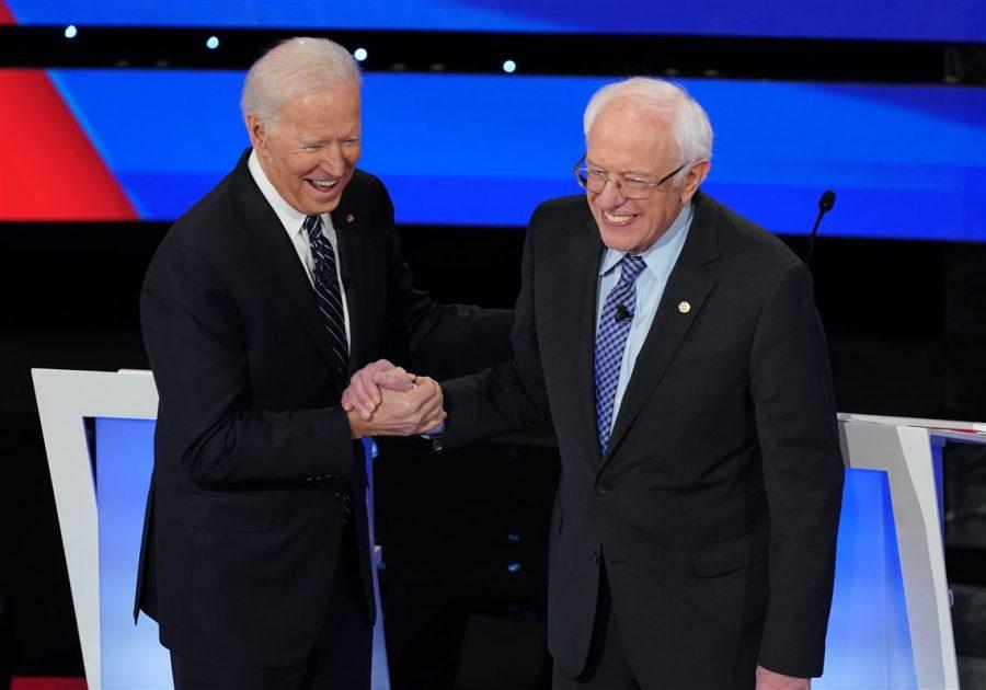 Joe+Biden+and+Bernie+Sanders-+two+Democratic+frontrunners-+shaking+hands+%7C+photo+credit%3A+Pittsburgh+Post+Gazelle
