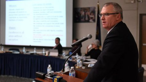 Superintendent Rob Banzer speaks at a Board of Education meeting in January 2020. (Credit: Newsday / Thomas A. Ferrara)