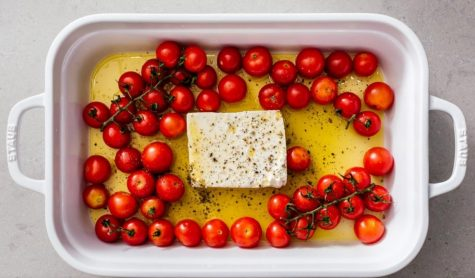 The recipe for TikTok Pasta calls for baked feta and tomatoes to be mixed with pasta.